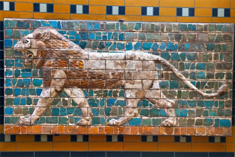 Glazed frieze of a lion from Babylonian Ishtar Gate
