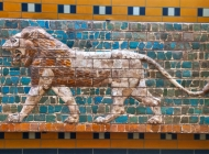 Glazed frieze of a lion from Babylonian Ishtar Gate