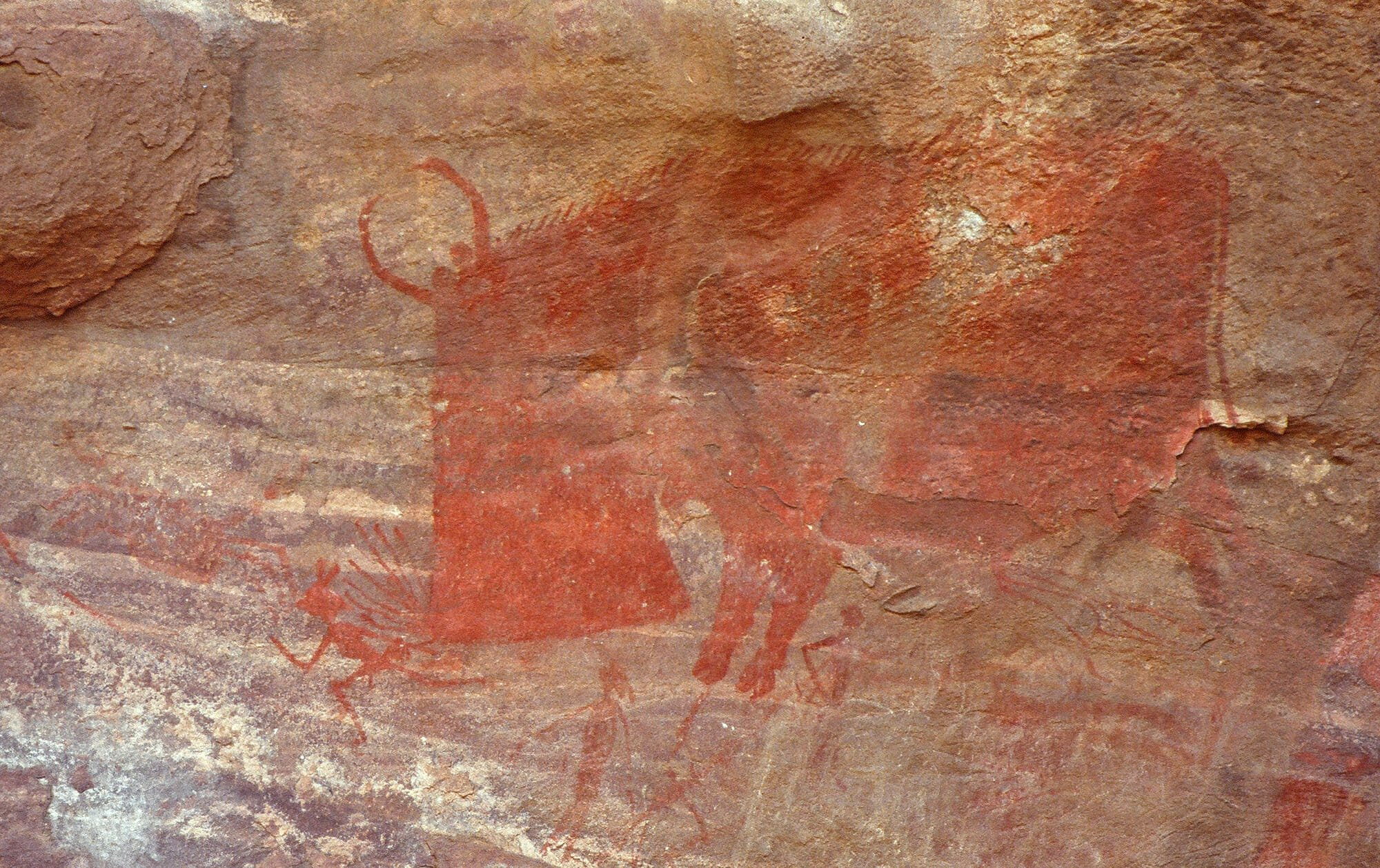 Drawing on Bimbetka Cave