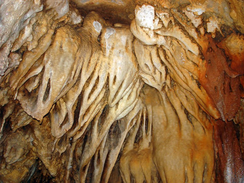 Phu Ma Dang cave in Kanchanaburi- Stalactite cluster on the cave wall