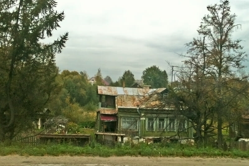Typical old Russian house outside of Moscow
