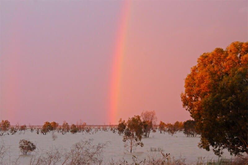 Rainbow over menindi lake
