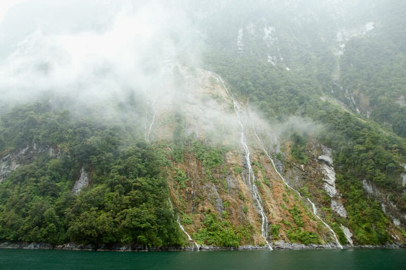Temporary waterfalls at Milford Sound