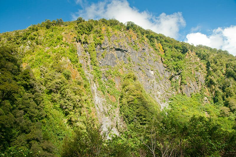 Steep cliffs at the Gates of Haast gorge