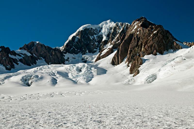 Fox Glacier and the peak of Mt. Cook