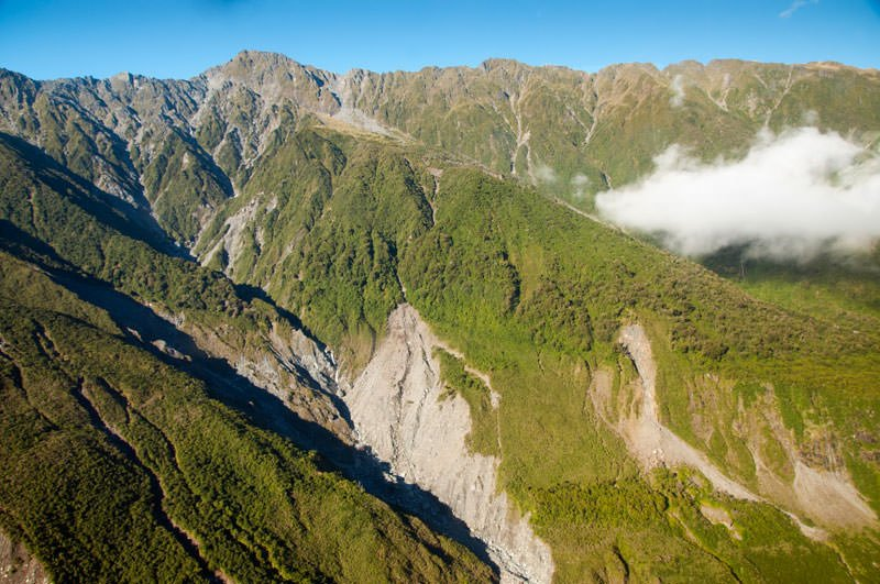 Mountain tops on approach to Fox Glacier. Helicopter ride to Mount Cook