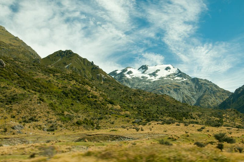Snow-capped peak in Mt. Cook National Park