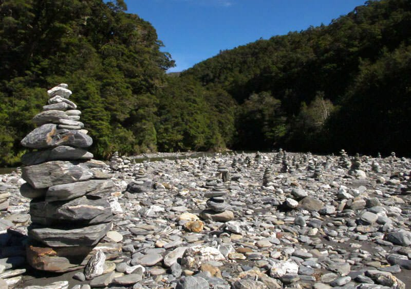 Pebble mounds in Mt. Aspiring National Park