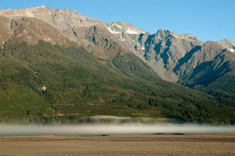 Morning mist rising from Lake Wakatipu