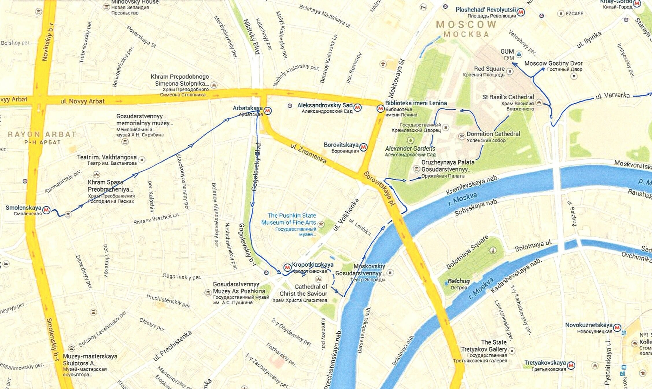 Day 1 Moscow walking map