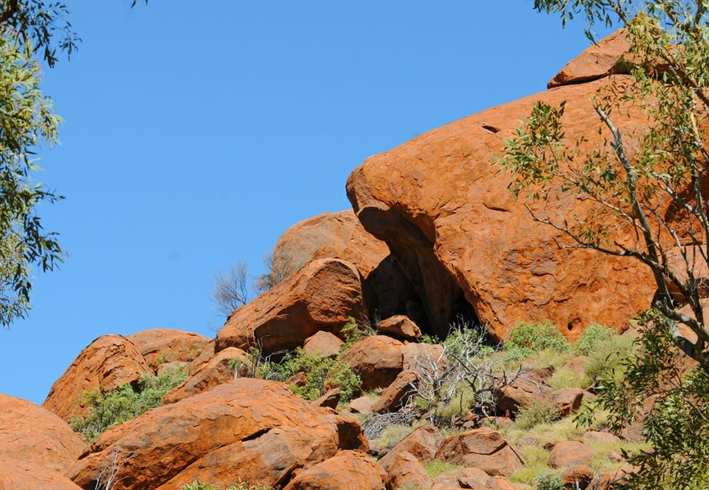 Boulders at the base of Uluru