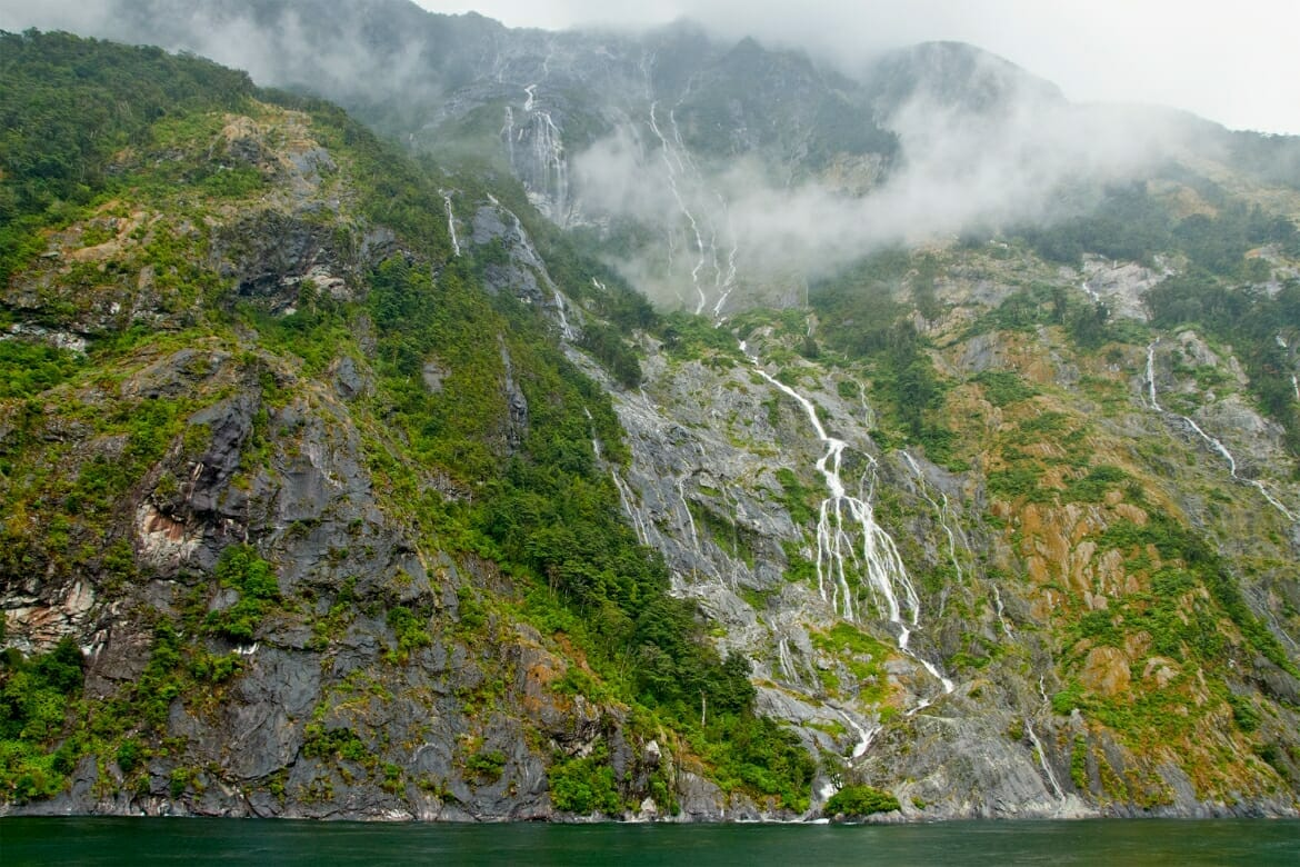 Milford Sound temporary waterfalls