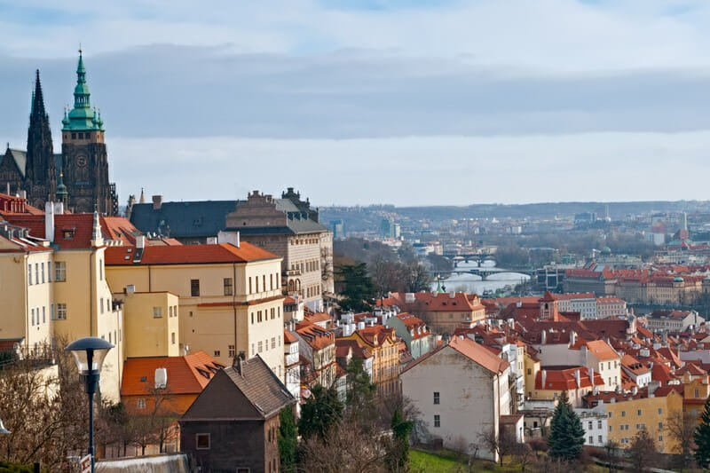 View of the city and the river from Strahov Monastery