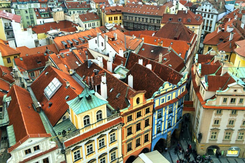 A weekend in Prague - View of the houses from Old Town Hall Tower
