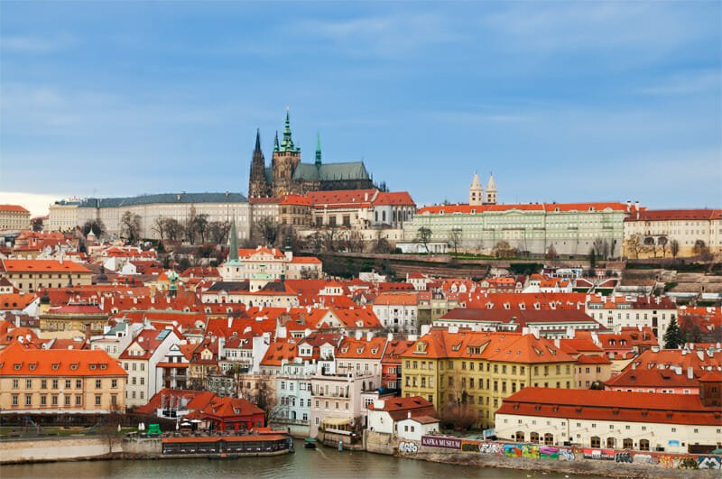 Looking back at the Prague Castle from the Old Town Bridge Tower