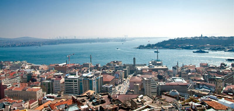 View from Galata Tower of the Bosphorus meeting the Golden Horn