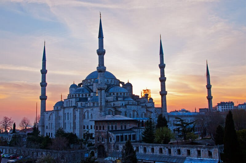 Sun setting behind the Blue Mosque