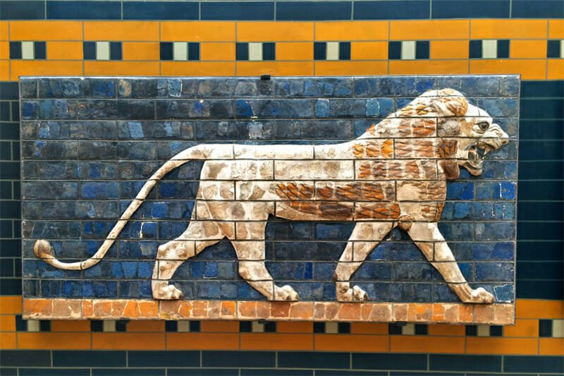Glazed frieze of a lion from Ishtar Gate