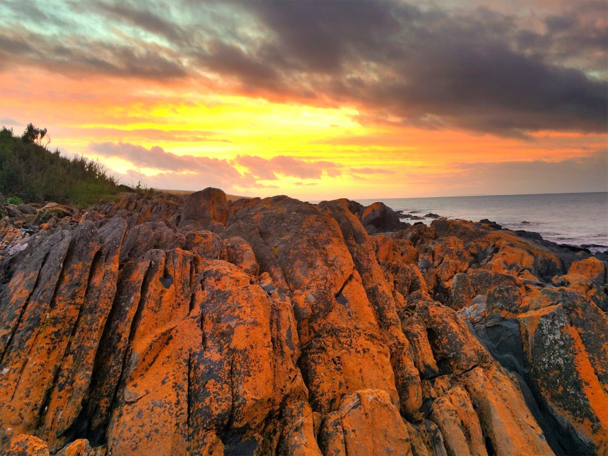 Christmas Cove fiery sunset