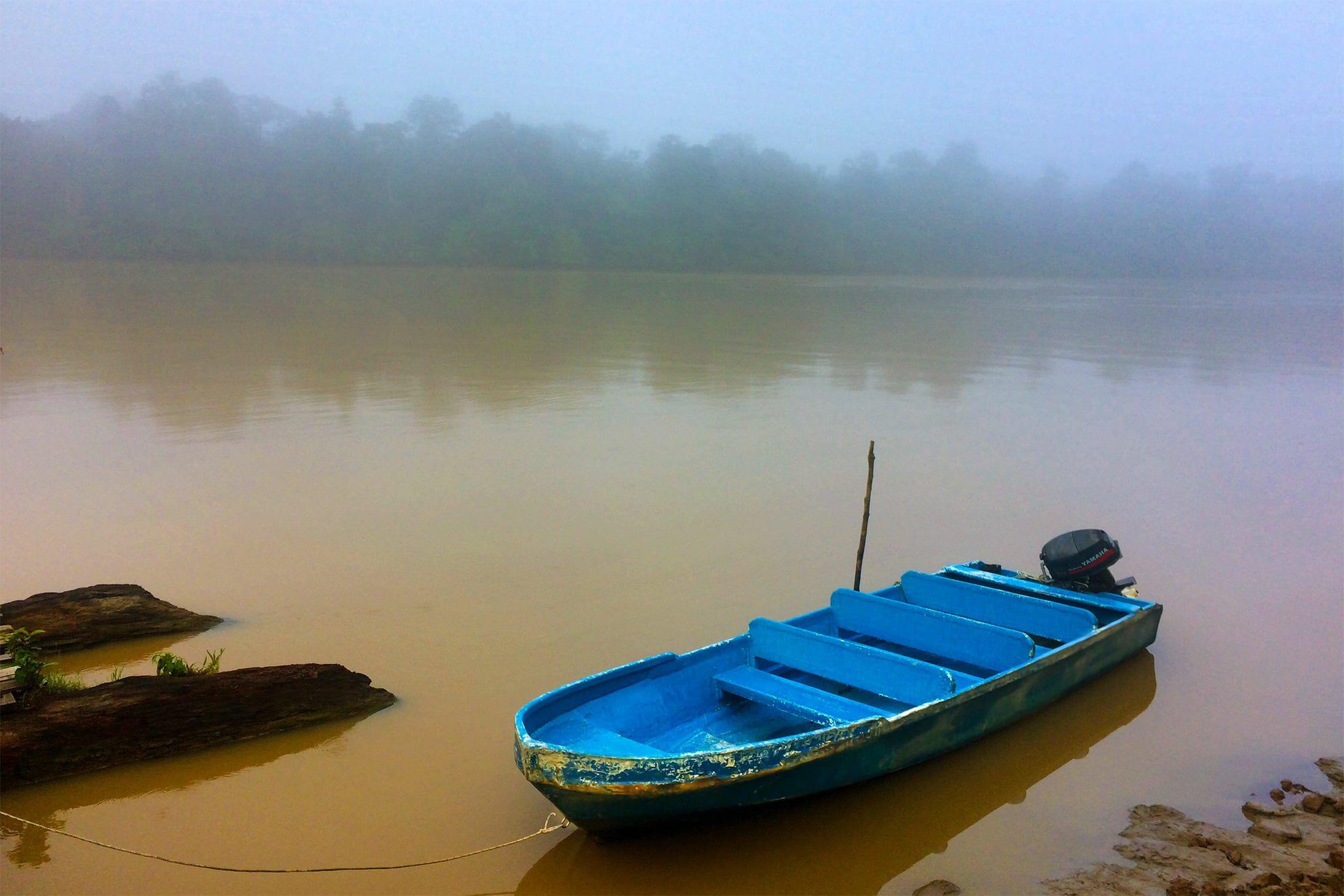 Morning mist lifting off Kinabatangan River, Borneo