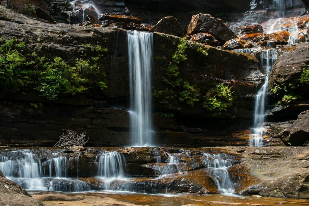 Bottom of the first tier of Wentworth Falls