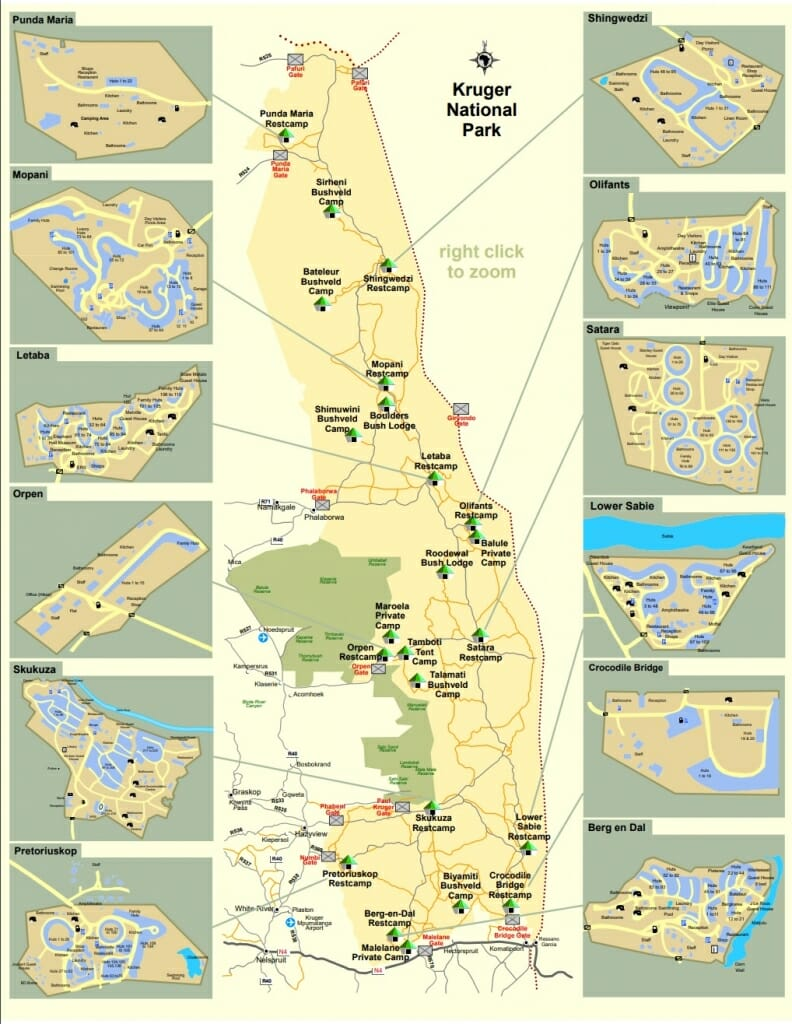 Kruger National Parks map of gates and camps