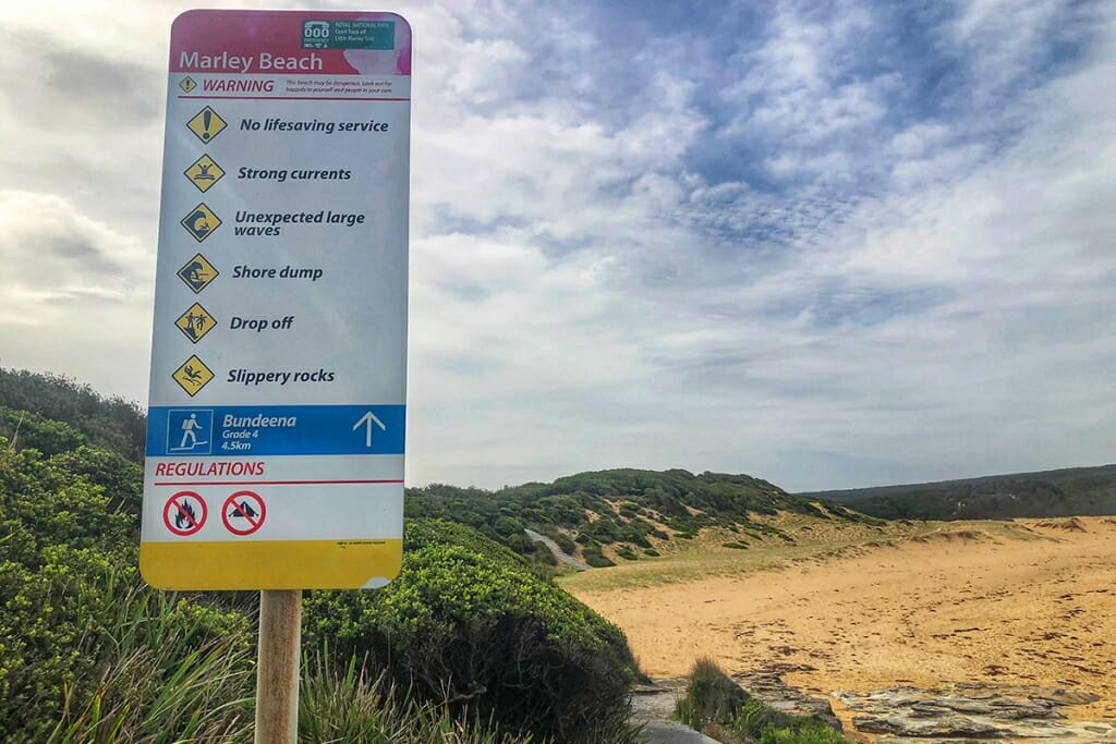 Bundeena to Marley Beach track, signage at Marley beach