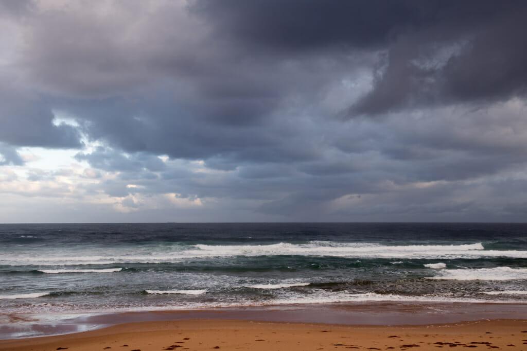 Foreboding sky over Anna Bay