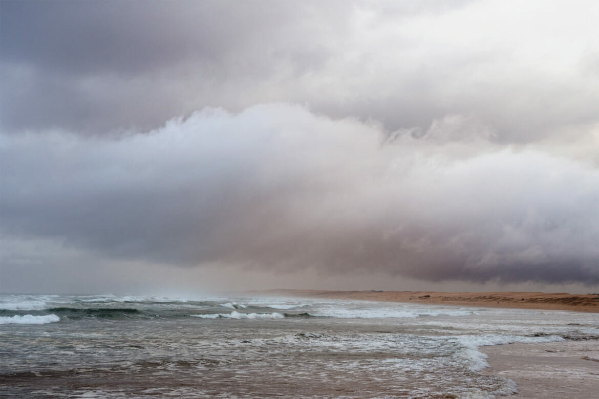 Alien-looking clouds over Stockton beach in Anna Bay