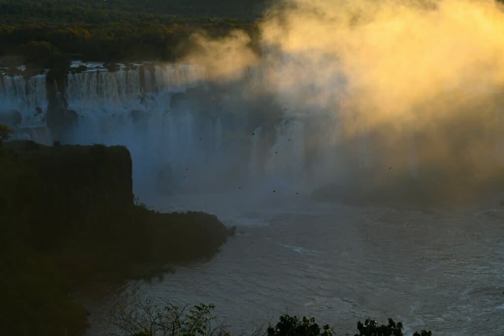 Iguazu Falls Braizil in late afternoon sun