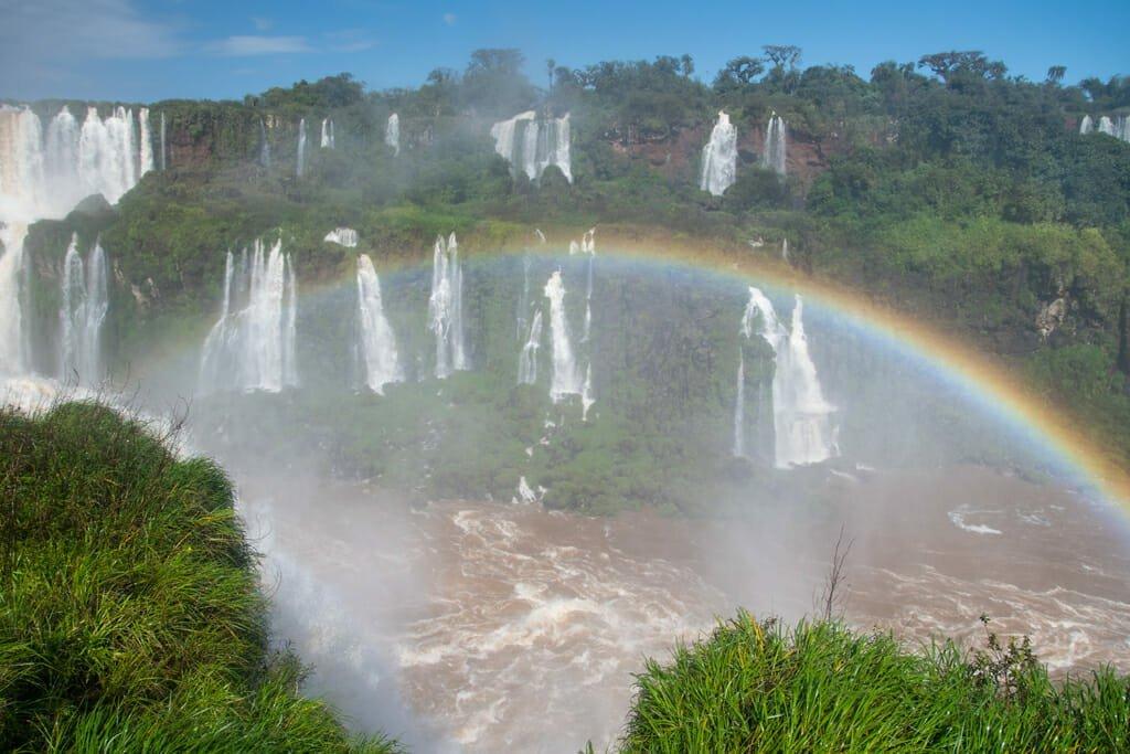 Rainbow over Iguazu Falls Brazil