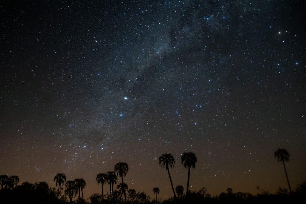 The starry sky over El Palmar National Park, Entre Rios, Argentina