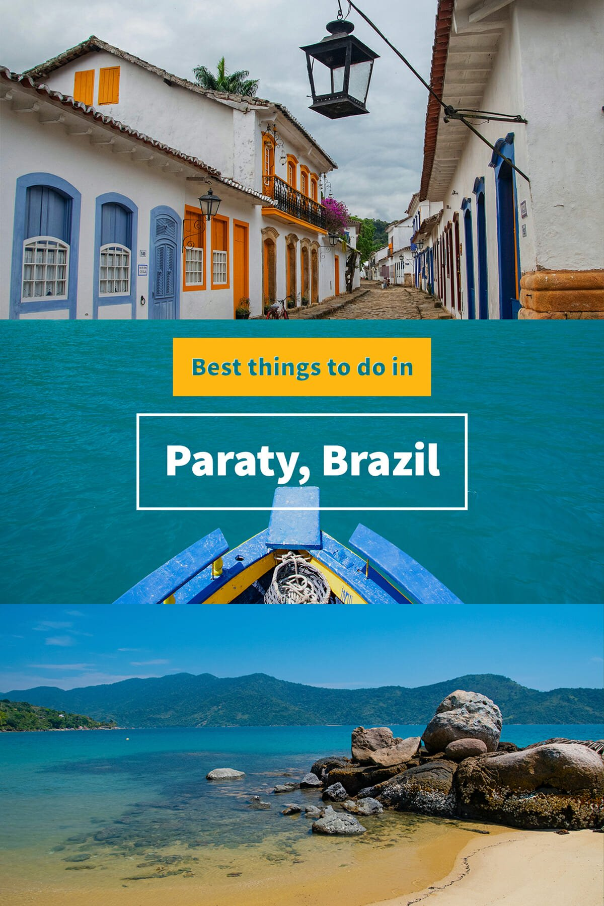 Best things to do in Paraty are Saco do Mamangua cruise, sandy beaches of Paraty and cobbled streets of Paraty historic center