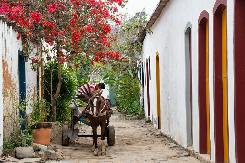 Horse drawn cart in Paraty