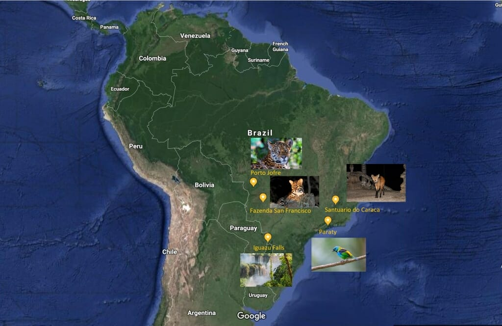 Map of the Best things to do in Brazil