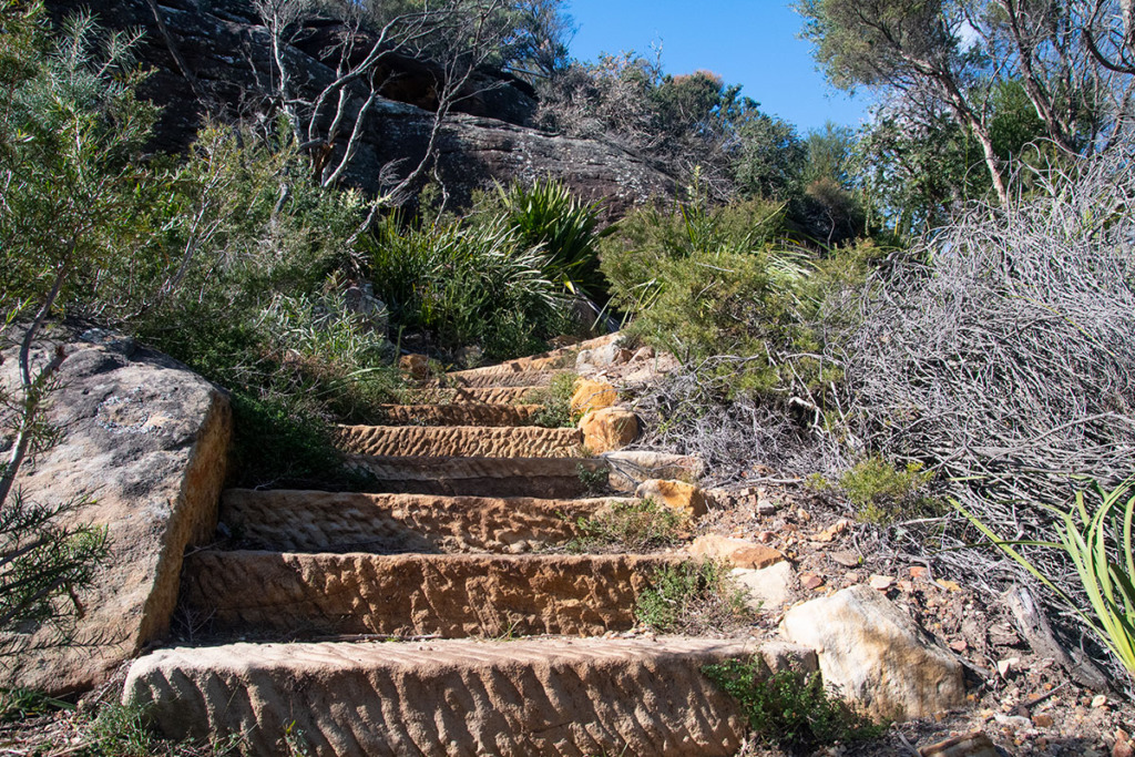 Sandstone steps on Garie Beach to Eagle Rock and Curracurrong Falls Track