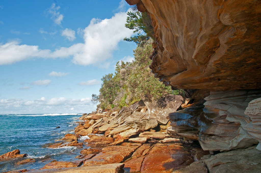 Rock formation along Wattamolla beach