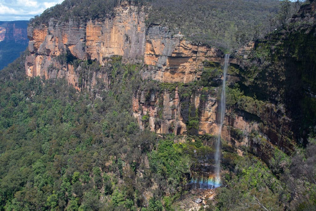 Govetts Leap waterfall with a rainbos