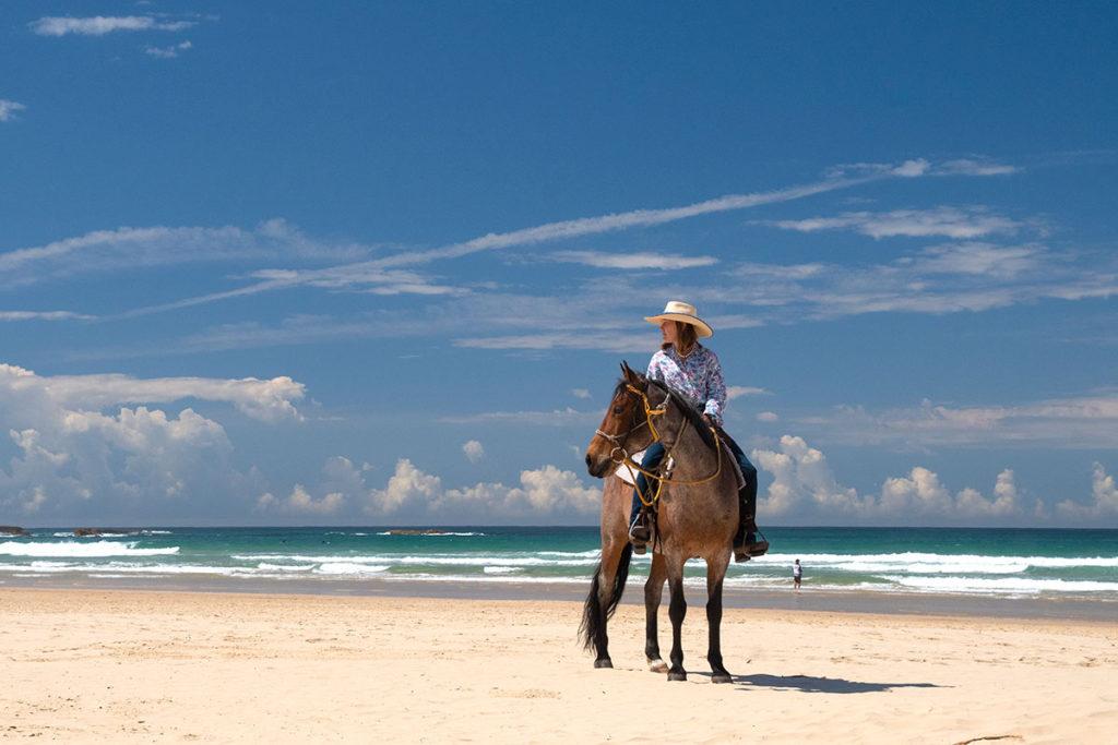 Horse riding on stockton beach