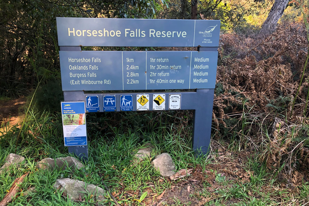 Signpost for Horseshoe Falls, Hazelbrook