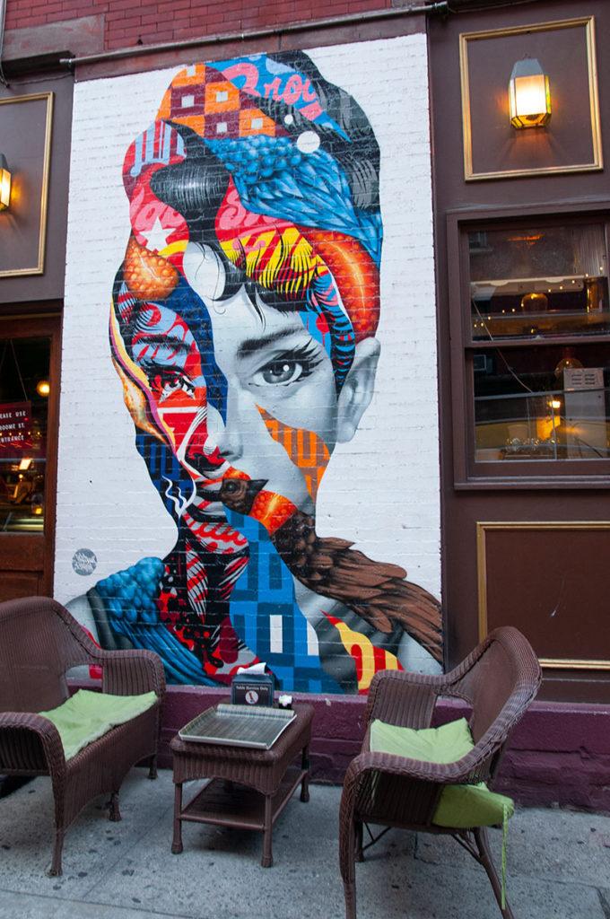 Audrey Hepburn mural in Little Italy