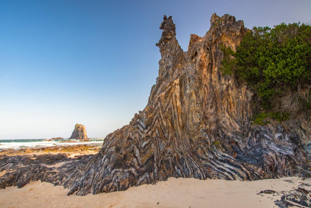 Chevron folded rocks on Narooma beach