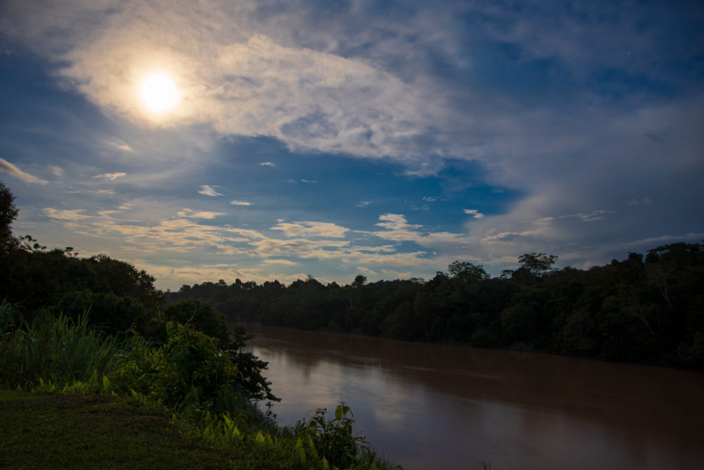 Moon rising over Kinabatangan River